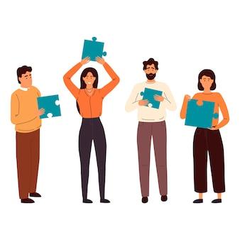 ジグソーパズル、ビジネスコンセプトを持つ人々のイラスト。チームの比phor。パズルを持っている人