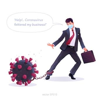 コロナウイルスの経済的影響。図。ビジネスマンは、コロナウイルスの発生によって引き起こされる危機の束縛から解放しようとしています。ウイルスの形をした比phor的なボールとチェーン。