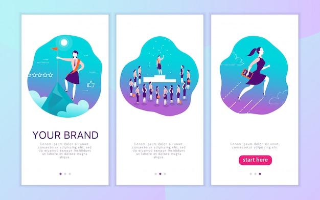 女性の個人的なブランドをテーマにしたモバイルアプリインターフェイスのコンセプトデザイン。成功したビジネスの女性のための勝利の隠phor。