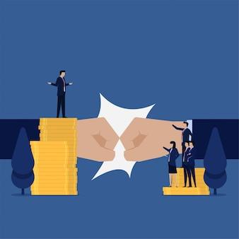 ビジネスフラットチームは、利益分配のお金の比phorのためにマネージャーに抗議します。