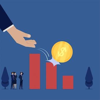 ビジネスフラットベクトル概念手ドロップコインは、損失の棒グラフの隠phorを登ります。