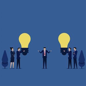 マネージャーは、意思決定のチームの比phorからアイデアを選択するのを混乱させます。