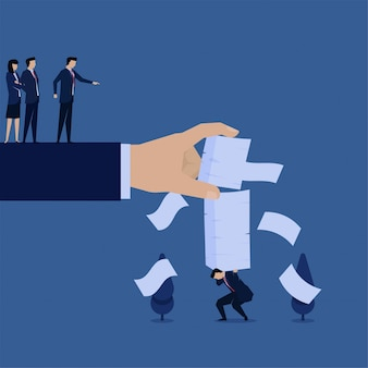 ビジネスフラットベクトルコンセプトマネージャーは、過労の仕事の隠phorのために実業家により多くの紙を置きます。