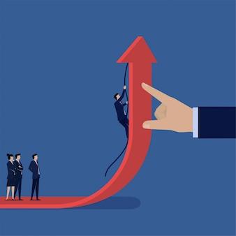 ビジネスフラットベクトル概念ビジネスマンは、利益のトップの比phorにグラフの壁を登ります。