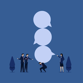 ビジネスフラットベクトル概念ビジネスマンは、言葉いじめのバブルチャットの隠phorを保持します。