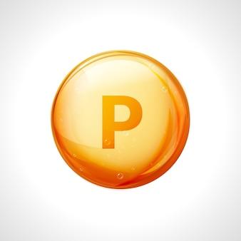인 p 미네랄 필수 비타민 골드. 비타민 p 기호 영양 디자인 요소입니다.