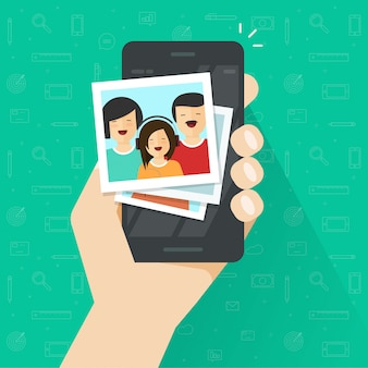 Photo album gallery on mobile phone or cellphone vector flat cartoon