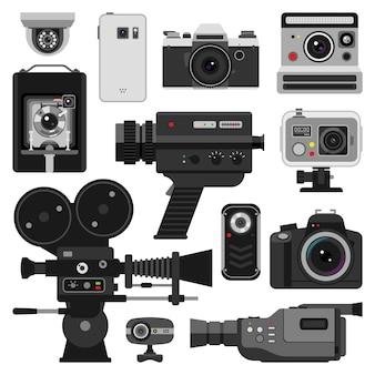 写真とカメラのセット Premiumベクター