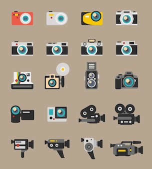 Фото и видео камеры плоские значки. технология цифровой фотографии, оборудование для линз, векторные иллюстрации поляроид