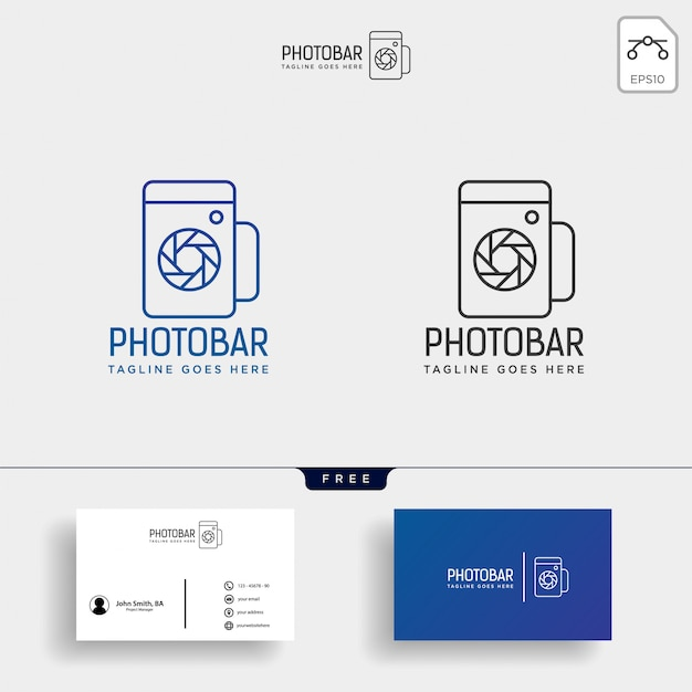 Photo bar, camera and bar or wine creative logo template