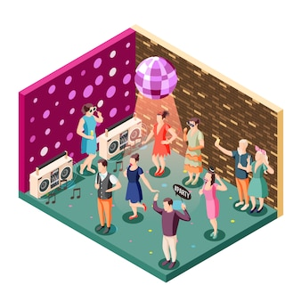 Photo booth event celebration isometric composition with disco ball party speakers and people holding props