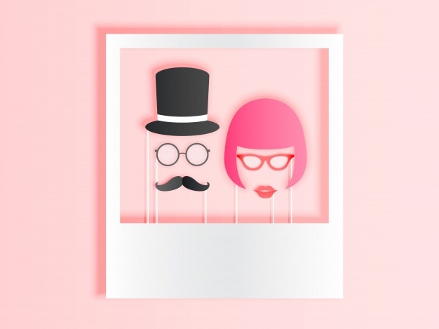 Photo booth items for couple in paper art style with pastel color scheme vector illustrati