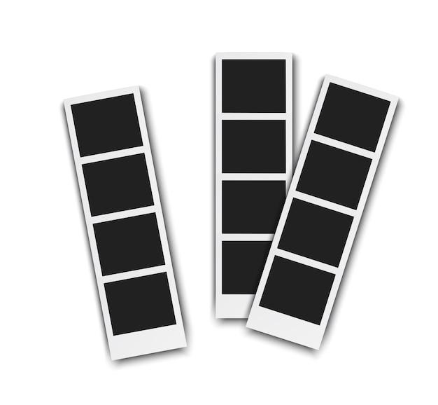 白い背景で隔離の写真ブースのピスチュア。影付きのレトロなフォトフレーム、リアルなベクトルイラスト