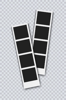 Photo booth pistures isolated on transparent background. retro photo frame with shadow, realistic vector illustration