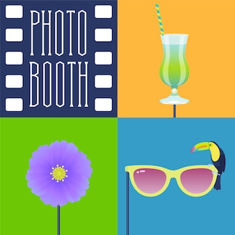 Photo booth props icon set