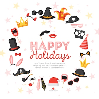 Photo booth props poster with happy holidays symbols