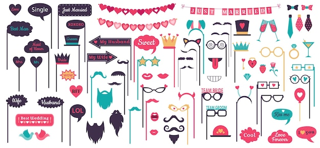 Photo booth props. wedding speech bubble frames, doodle love heart frame, mustache and glasses on prop