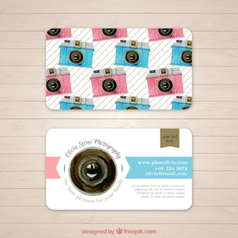Photo business card with pattern