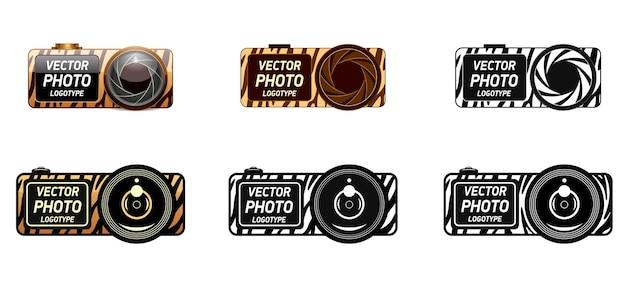 Photo camera in brown color and tiger zebra pattern safari wildlife animal logo icon