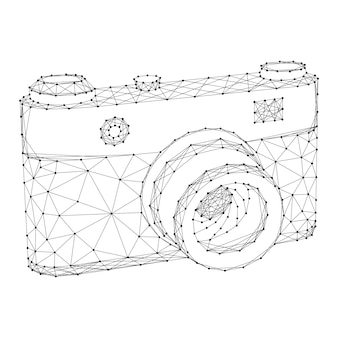 Photo camera from abstract futuristic polygonal black lines and dots.