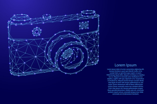 Photo camera from futuristic polygonal blue lines and glowing stars for banner, poster, greeting card.