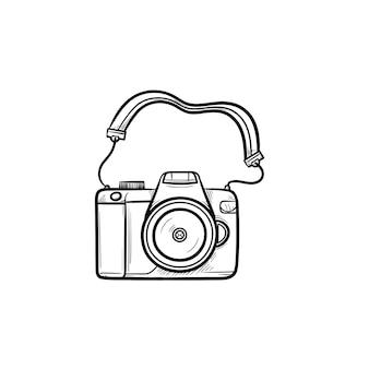 写真カメラ手描きのアウトライン落書きアイコン。写真とキャプチャ、休日の写真、デジタル機器のコンセプト。白い背景の上の印刷、ウェブ、モバイル、インフォグラフィックのベクトルスケッチイラスト。