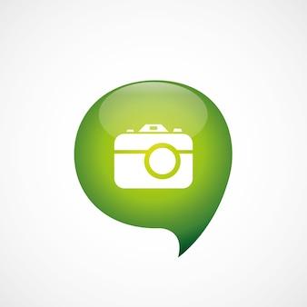 사진 카메라 아이콘 녹색 생각 거품 기호 로고, 흰색 배경에 고립