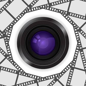 Photo camera lens 3d   in film reel frame