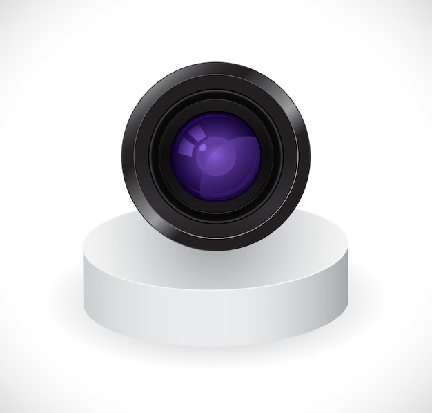 Photo camera lens on stand 3d icon