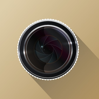 Photo camera lens with shutter