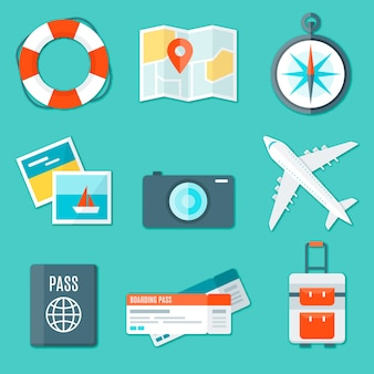 Photo camera pack with travel elements in flat design
