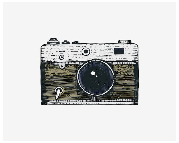 Photo camera vintage, engraved hand drawn in sketch or wood cut style, old looking retro lens,   realistic illustration