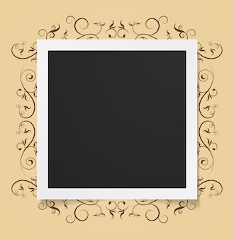 Photo card on floral frame abstract background
