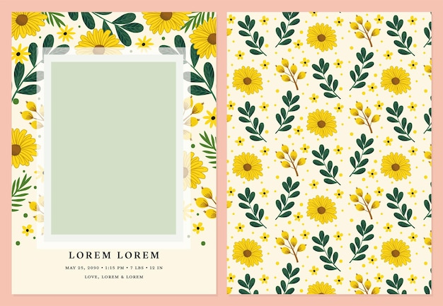 Photo card vector template for birth announcements birthdays and baby showers featuring sun flowers