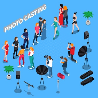 Photo casting isometric composition