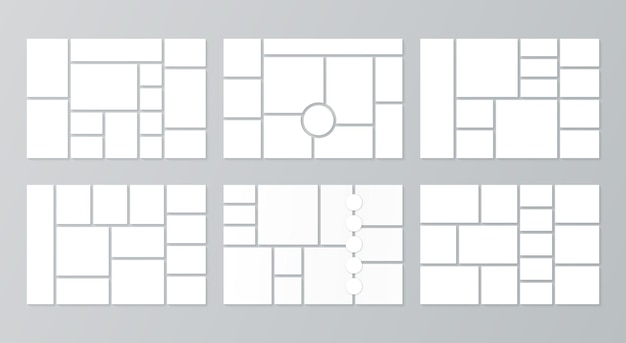 Photo collage grid moodboard template  set of picture grids mosaic frame banner