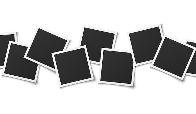フォトコラージュ。現実的な正方形のフレーム構成、空のモンタージュテンプレートデザイン、メモリアルバム、白い背景で隔離のベクトル図
