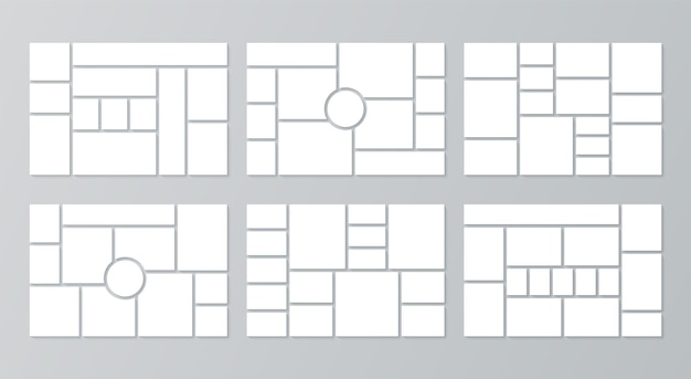 Photo collage template. moodboard. vector illustration. set of pictures grids.