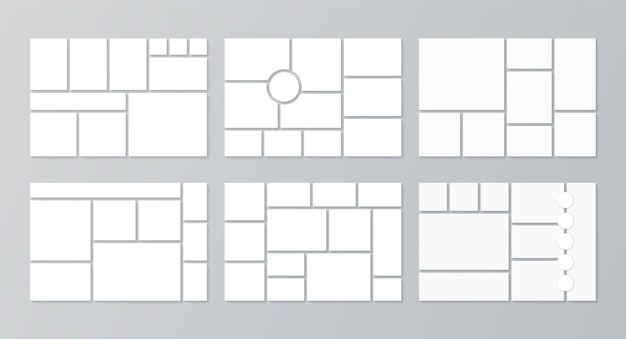 Photo collage template. set of pictures grids.