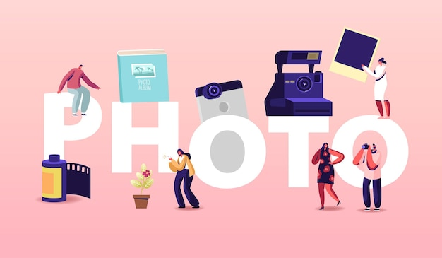 Photo concept. photographers characters with camera make pictures. cameraman expert job, creative traveling hobby, professional work occupation poster banner flyer. cartoon people vector illustration