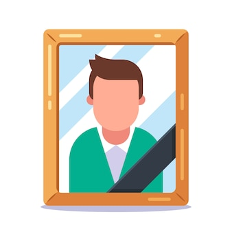 Photo of a dead man with a black ribbon. flat illustration.