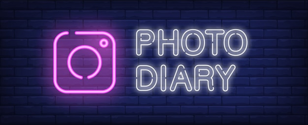 Photo diary neon sign