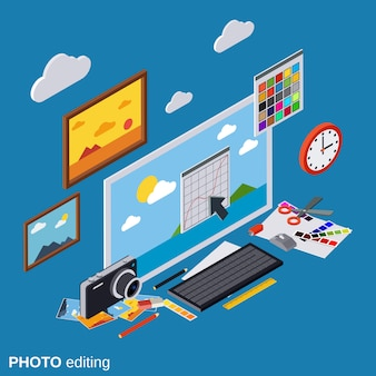 Photo editing flat isometric vector concept illustration