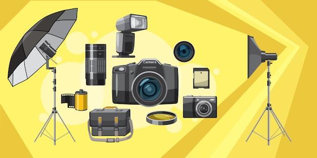 Photo equipment background horizontal, cartoon style