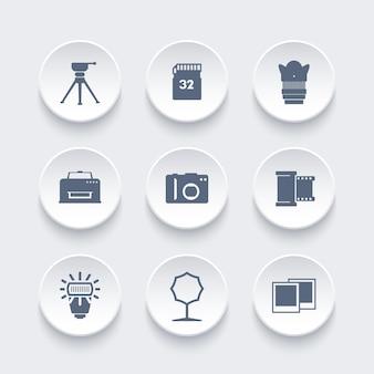 写真機材のアイコン、カメラ、三脚、メモリーカード、フィルム、レンズ、ソフトボックス、フラッシュ