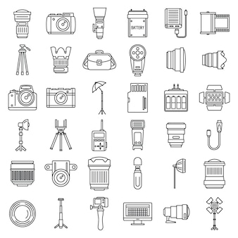 Photo equipment icons set