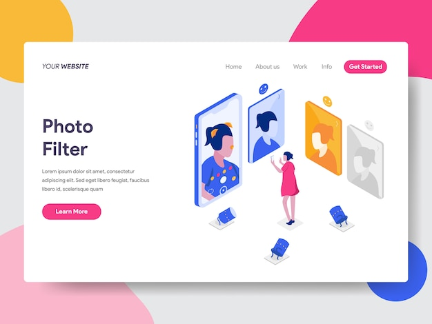 Photo filter isometric illustration