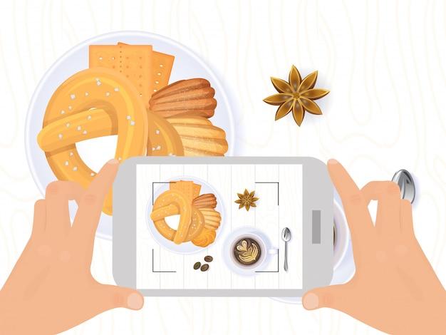 Продовольствие фото для социальной сети, прибор мобильного телефона владением руки принимает съемку изолированный на белизне, иллюстрации.