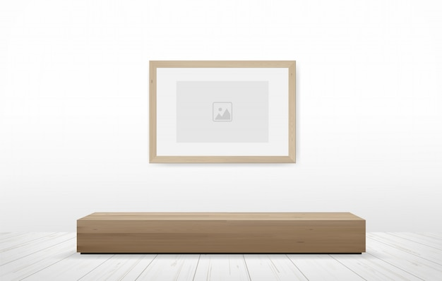 Photo frame and bench in wooden room.