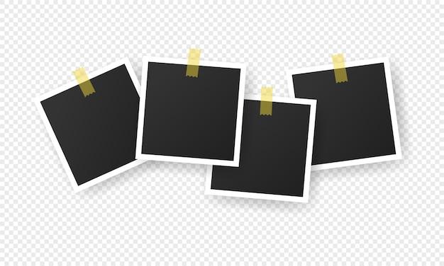 フォトフレームの空白のアイコンを設定します。粘着テープ。写真。透明な孤立した背景上のベクトル。 eps10。